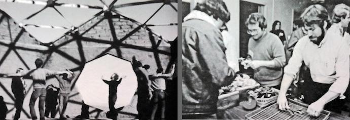 Esquerda: construção da sede da Fundação Lama. Direita: Steve Wozniak lavando louça na Primeira Conferência Hacker