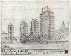 Frank Lloyd Wright. Projeto para Torres St. Mark's-in-the-Bowery. Fonte: http://hyperallergic.com/65105/frank-lloyd-wrights-unrealized-skyscraper-dreams/