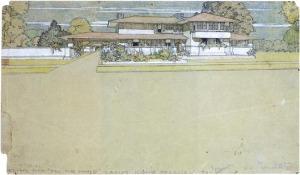 Frank Lloyd Wright. Aquarela para projeto de uma Casa na Pradaria. 1900. 635 x 831mm. Fonte: http://www.etsavega.net/dibex/Wright_dibujos-e.htm