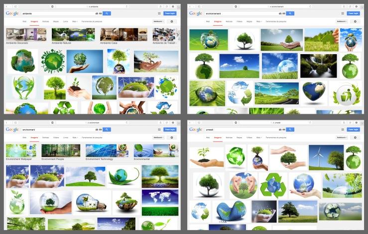 """Pesquisa no Google Imagens por """"ambiente"""" em diferentes idiomas."""