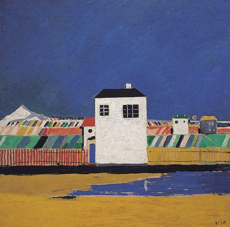 Kasimir Malevitch. Paisagem com casa branca. Óleo sobre tela, 59x59 cm, 1929.