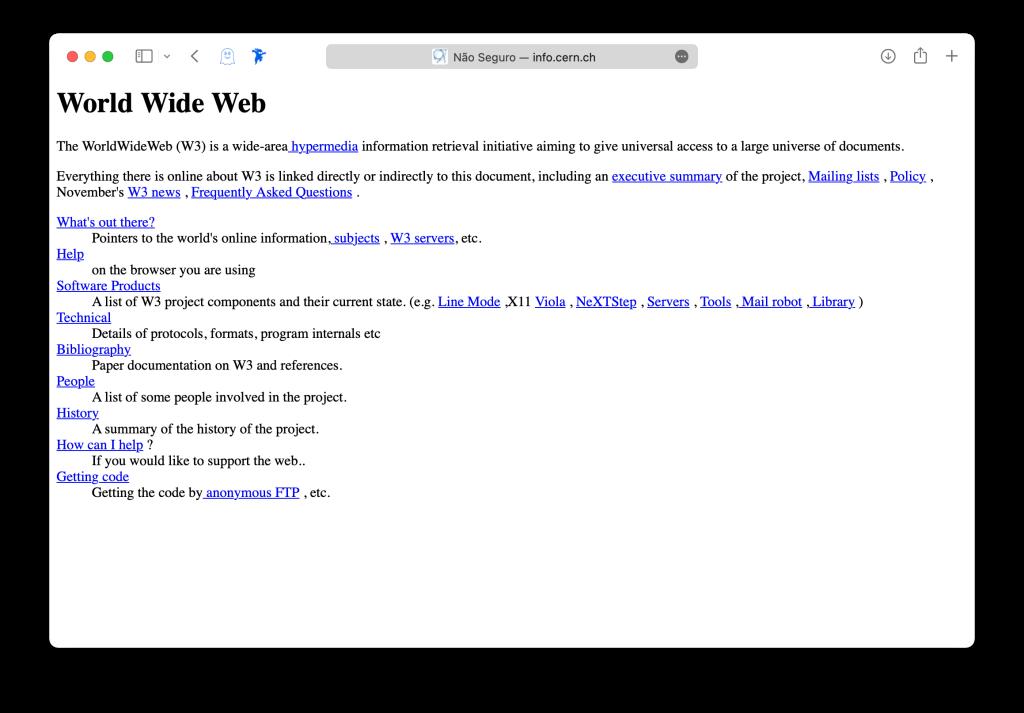 Página tida como a primeira em HTML da história, desenvolvida por Tim-Berners Lee no CERN, em 1989